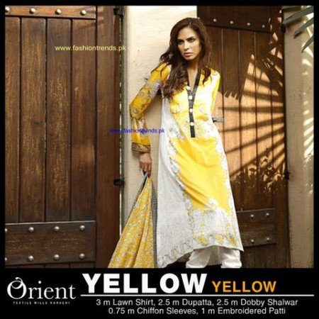 Orient Textile Midsummer Women 2013 Collection yellow white dress