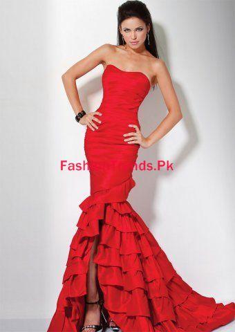 Red Mermaid Trumpet Strapless Taffeta Prom Dress