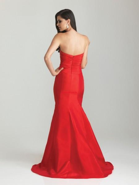 Taffeta Trumpet Mermaid Red Prom Dress