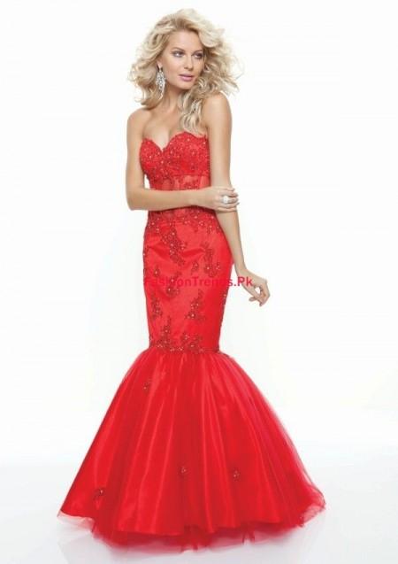 Taffeta Trumpet Mermaid Red Prom Dress 2013