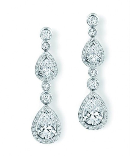 Brilliant Marquise Diamond Earrings For Women In 14K White Gold Double Diamond