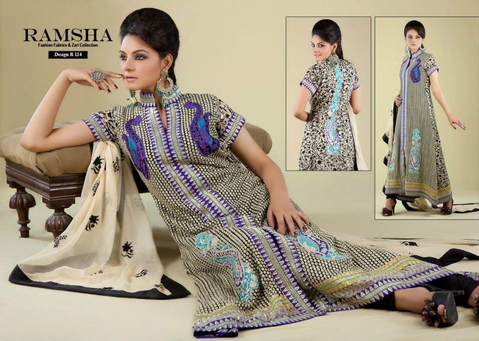 Ramsha fashion fabrics and zari collection 26