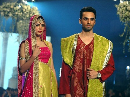 Models-are-displaying-the-bridal-dresses-prepared-by-the-fashion-designer-Yasmeen-Zaman