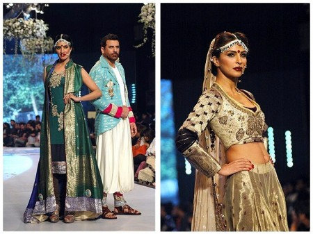 Models are displaying the bridal wear dresses, which are prepared by different fashion designers.