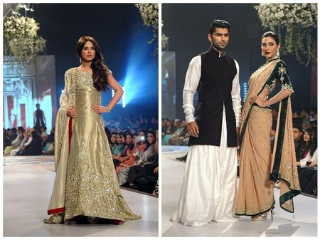 Models are displaying the dresses of the fashion designer, Mansoor Akram.