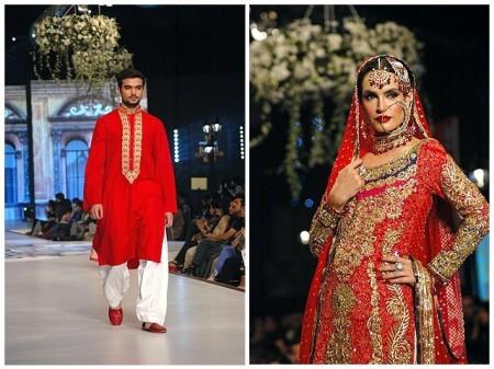 Models are exhibiting the wedding dresses designed by fashion designer Nomi Ansari
