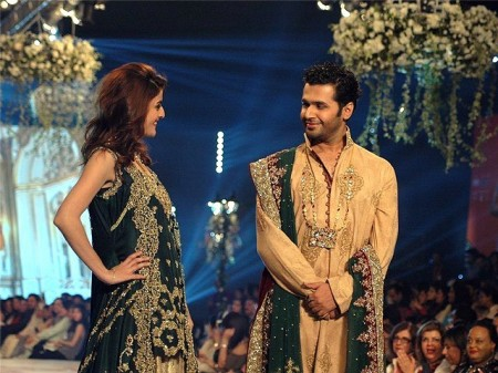 Models are exhibiting wedding dresses prepared by fashion designer, Rani Emaan.