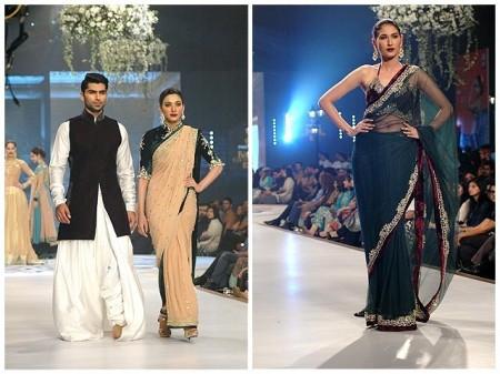 Models are showcasing dresses of the fashion designer, Mansoor Akram.