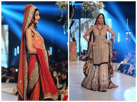 Models are showcasing wedding dresses prepared by fashion designer, Rani Emaan.