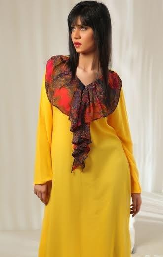 Yellow Women Casual Wear Dresses 2014