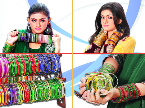 Women in Different Colorful Bangles Pics