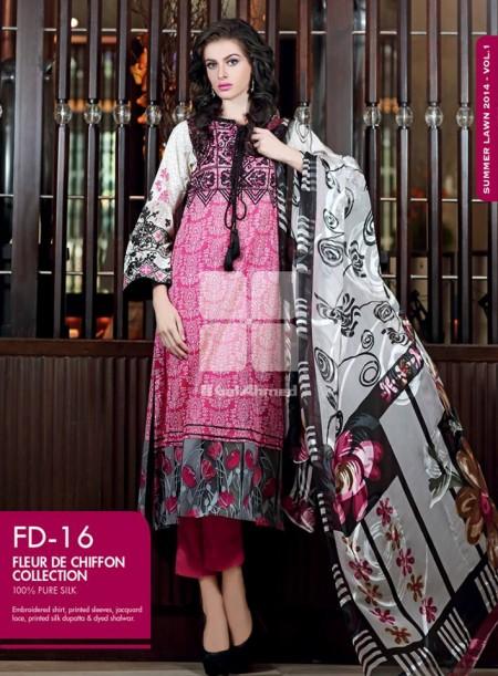 Gul Ahmed Chiffon Dresses 2014 Volume 2