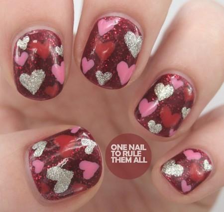 Heart Nail Art Designs 2014 For Women