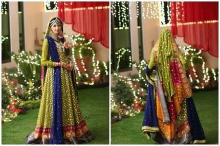 Trends Of Green Mehndi Dresses 2014 For Women