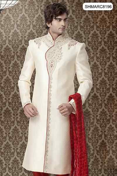 Fashion of White Sherwani for Pakistani Groom 2014