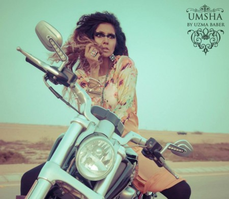 Umsha By Uzma Babar Silk Dresses 2014 For Girls