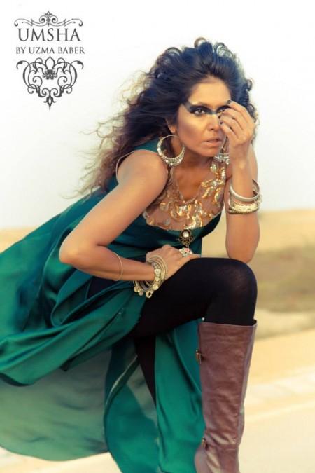 Umsha By Uzma Babar Silk Dresses 2014 For Girls