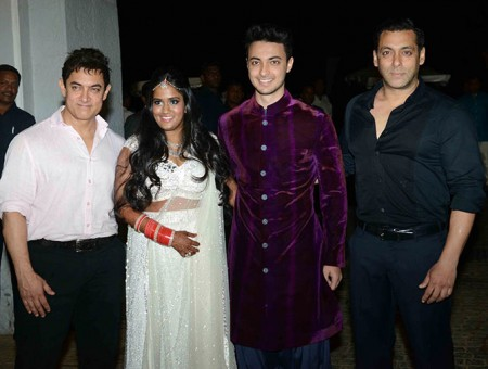 Arpita Khan, Aayush Sharma with Aamir & Salman Khan in Pictures