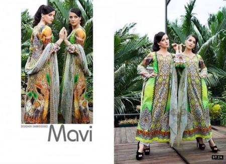 Shariq Textiles Mavi Designer Winter Dresses 2014