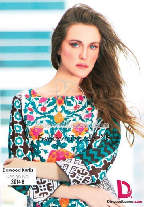 Dawood Lawn Designer Kurti Collection 2015 (12)