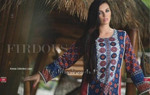 Firdous Cloth Mills Korean Lawn Collection 2015 (2)
