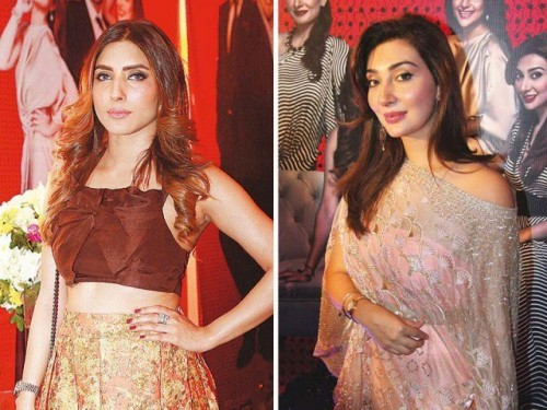 Uzma and Ayesha Khan at Jawani Phir Nahi Ani Promotion