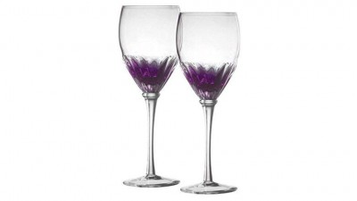 Danesco Mouth Blown Color Infused Wine Glasses – Set of Two