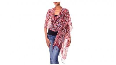 NOVICA Artisan Crafted Batik Silk Shawl
