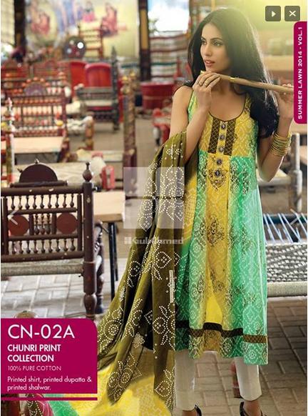 Gul Ahmed Chunri Summer Dresses Collection 2016