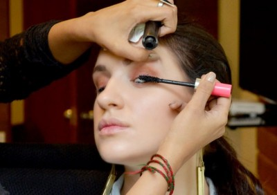 With the eye makeup