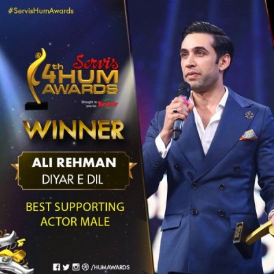 Best Actor In a Supporting Role Male Award (2) Goes To Ali Rehman Khan For Diya re dil