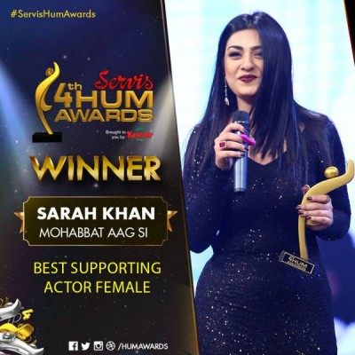 Best Actor In a Supporting Role Female Award Goes To Sarah Khan For Mohabbat Aag Si
