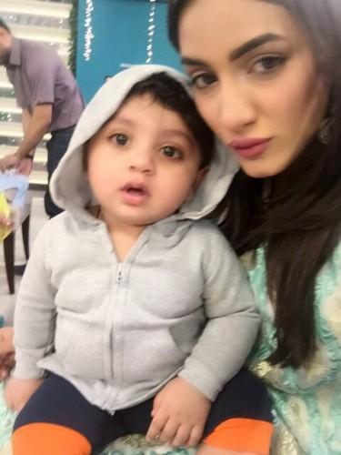 Mathira and her cute baby boy.