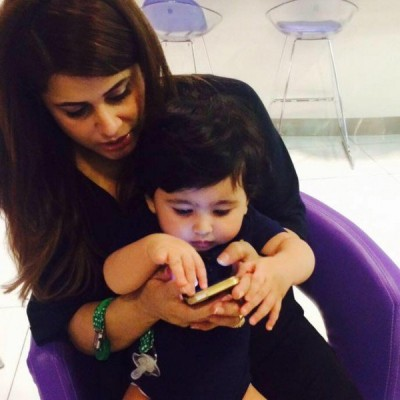 Mehreen Raheel with her one year old daughter and two year old son.