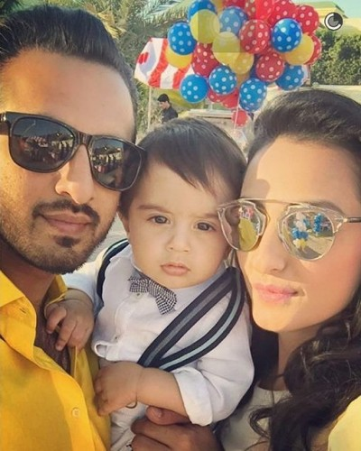 Momal Sheikh clicks with her baby boy and husband.