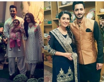 Ayeza Khan and Danish Taimoor on the sets of Ramadan show 'Mehmaan Nawaz' with their cute daughter Hoorain.