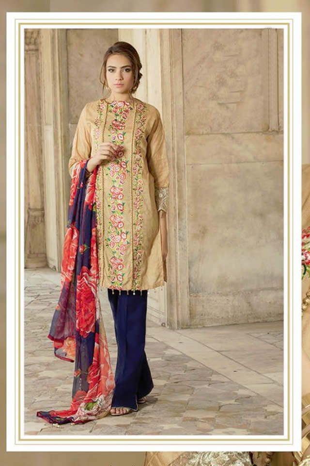 Orient Textile Latest Collection For Fall Winter 16: Orient Textile Chiffon Embroidered Summer Dresses 2017