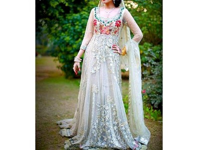 designer embroidered net maxi dress