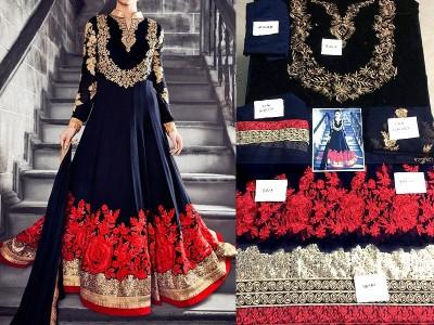 designer embroidered chiffon dress