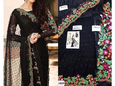 designer chiffon saree black