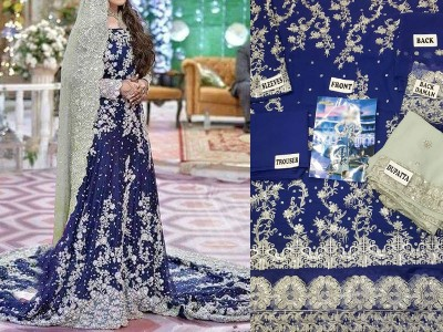 embroidered bridal chiffon suit