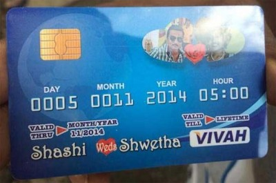 This Is Another Wedding Credit Card In Which Not Only Invitation For Given But The Pictures Of Bride And Groom Are Also Present So That People