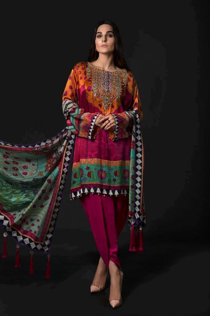 Maria B Luxury Silk Dress Collection 2018 Fashion 2017