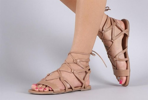 Ankle Wrapped Striped Sandals